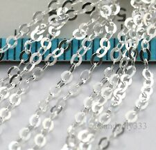 "24"" (24 inches) x STERLING SILVER BRILLO OVAL CHAIN 1.6mm footage open #3120"