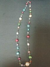 """18 """" Long Multicolor Honora Pearl Neckace with Sterling Silver Chain and Clasp"""