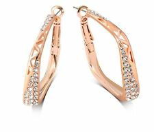 18K Rose Gold Plated Square Hoop Earrings Made With Swarovski Crystals Bridal
