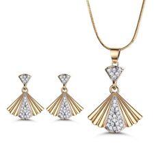 Elegant 'Fan' Silver & Gold Filled Swarovski Crystal Women Earrings Necklace SET