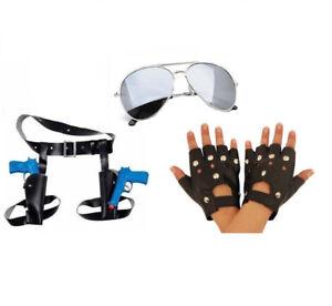 Lara Croft Fancy Dress Twin Thigh Holster & Guns Glasses Gloves Tomb Raider Set