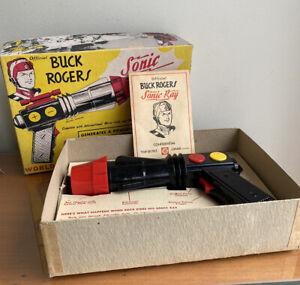 Vintage 1950s Official Buck Rogers Sonic Ray Gun~Orig. Box, Insert, Gun Works!