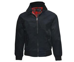 Heavy KB Black Harrington Jacket Tartan Lined Punk Skinhead England Jacke