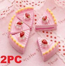 2PC Miniature Dollhouse Pink Strawberry Cake Re-ment Garden Fairy Bonsai Decor