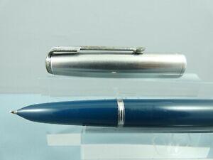 Vintage Parker 51 Teal Fountain Pen,CT, Lustraloy Cap (no jewel),14K Nib Ex Cond