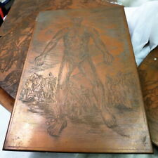 slavery engraving folk art on book size copper printing plate by hand /ca 1890?