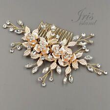 Beautiful gold tone bridal wedding rhinestone pearl Hair comb accessories 9175