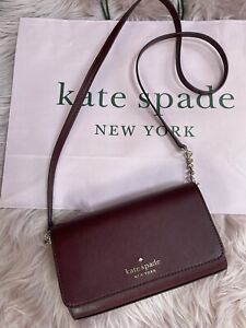 NWT Kate Spade 💯%Authentic Staci Cherrywood Small Flap Crossbody