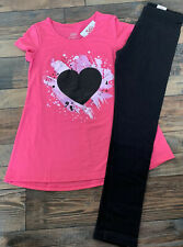 JUSTICE GIRLS Pink Heart Tunic SHIRT Black LEGGINGS Outfit Nwt Size 12