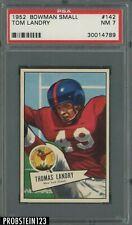 1952 Bowman Small Football #142 Tom Landry New York Giants RC Rookie HOF PSA 7