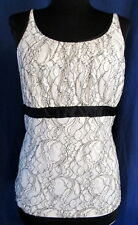MERONA sleeveless knit top IVORY & BLACK lace side zip XL *FREE SHIPPING* Nice