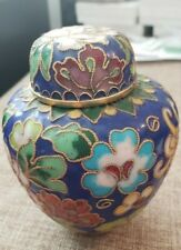 Chinese Copper Cloisonné Ginger Jar Peonies and other Flowers on Cobalt