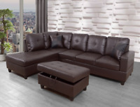 *SALE* Modern Brown Sectional w/ Faux Leather Storage Ottoman & 2 Accent Pillows