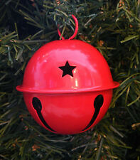 VINTAGE 90's JUMBO RED METAL JINGLE BELL SLEIGH BELL CHRISTMAS CRAFT ORNAMENT