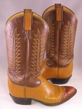 Tony Lama Mens Vintage Brown Cowboy Boots Size 6.5 D Lizard Tips Western