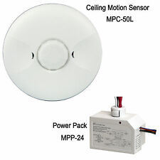 Low Voltage Ceiling Motion Sensor PIR Occupancy Switch & 24VDC Power Pack Kit