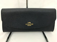 NWT! Coach Midnight Crossgrain Leather Slim Envelope Wallet F54009