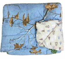 Real Tree Blue Camouflage Full Comforter Set with Shams Camo, Reversible
