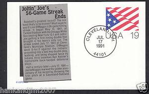 Joe Dimaggio Hitting streak 50th Anniversary 1991 USPS First Day Issue Postcard