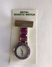 NEW FIRST HAND HEALTHCARE WATCH STYLE LINKS THERAPIST NURSE SILVER WITH PURPLE