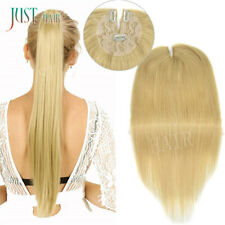 Clip in Ponytail Blonde Human Hair Extension Straight Thick Natural PonyTail 613