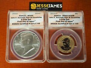 2015 P REVERSE PROOF JOHN KENNEDY DOLLAR ANACS PF69 MS69 FDI COIN CHRONICLES SET