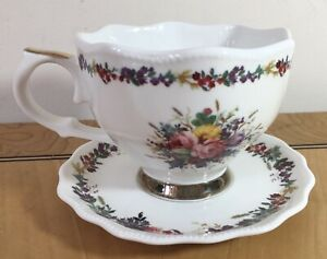 Large Floral Tea Cup And Saucer. Floral Bouquet Pattern Beautiful Design