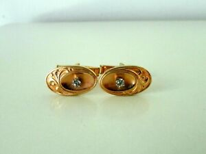 ANTIQUE GOLD FILLED BRONZE RHINESTONE ART NOUVEAU CUFFLINKS