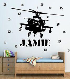 Personalised Army Apache Wall Art Vinyl Sticker, Kids Bedroom Decoration Boys