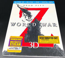 World War Z (Blu-ray/DVD, 3-Disc Set, Unrated Digital Copy 3D) Brad Pitt