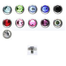 Dermal Ancora parte superiore 8 mm ancora testa palla 1,2 mm Cristalli Zirconi