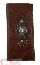 Western Bi-Fold Men's Rodeo Wallet Genuine Leather Silver Cross Concho Studs