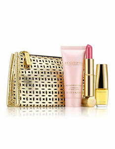 Estee Lauder Beautiful Mini,Lotion and Pure Color No 16 Candy Lipstick Gift Set