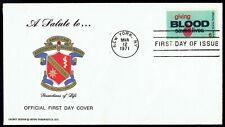 US 1425 Giving Blood Mar 12, 1971 Ortho Diagnostics Limited ed FDC F1425-4