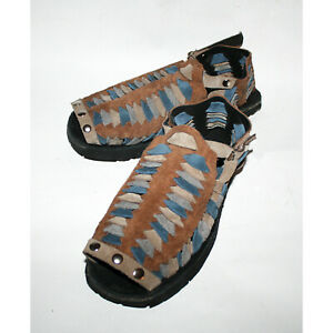 TREADS 1970s Retro Style Men's Sandals Hand Made Brown Grey & Blue Leather