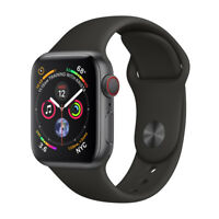 Apple Watch Series 4 40mm Space Gray Aluminum Case Black Sport Band GPS + LTE