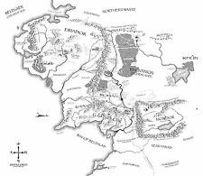 Cartel – Vintage Estilo Mapa De Tierra Media (señor De Los Anillos Dvd Blu-ray Cine)