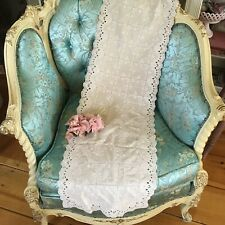 Beautiful Antique Lace Table Runner Cotton Floral Needlework 1900-1920s #A