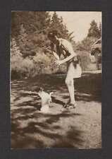 CUTEST LITTLE DOG SITS UP 4 TREAT SKINNY LADY OLD/VINTAGE PHOTO SNAPSHOT- H181