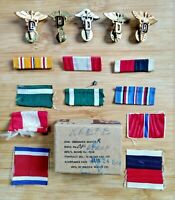Doctor Caduceus Pins with Ribbons Lot of 15 Pieces Vintage Military