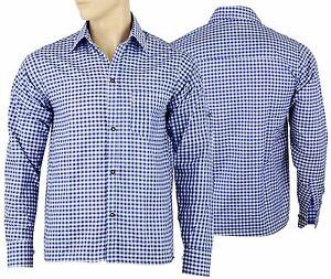 Mens Bavarian Blue Checked Classic Style Lederhosen Shirts