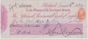 GB OLD CHECKS 1884 The National Provincial Bank of England, Hartlepool Branch