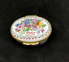 Vintage Enamel Halcyon Days 1991 Floral Trinket Box Collectible