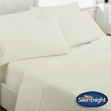 SILENTNIGHT SINGLE CREAM COTTON FLANNELETTE SHEET FITTED BED COVER BEDDING SET