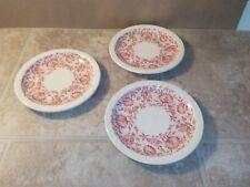 "3 Vintage Syracuse Roxbury Red China 6 3/8"" Bread Desert Plates"