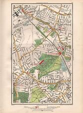 1936 grande échelle Carte-London New Southgate Bowes parc bois vert Hornsey muswe