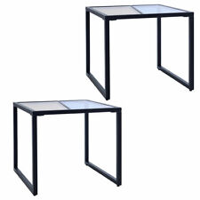 Set of 2 Side End Table Tempered Glass Top Metal Frame Living Room Furniture