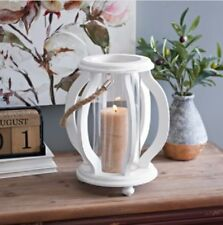White Cutout Wave Lantern Shabby chic Style Accent