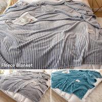 Large Fleece Flannel Teddy Throw Faux Fur Sofa Double King Bed Blanket Soft Warm