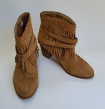 Chico's Shoes Ankle Boots Tan Suede Fringe Slip-On Buckle Womens Size 6 M